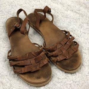 UGG Brown Larisa Flat Leather Sandals 8